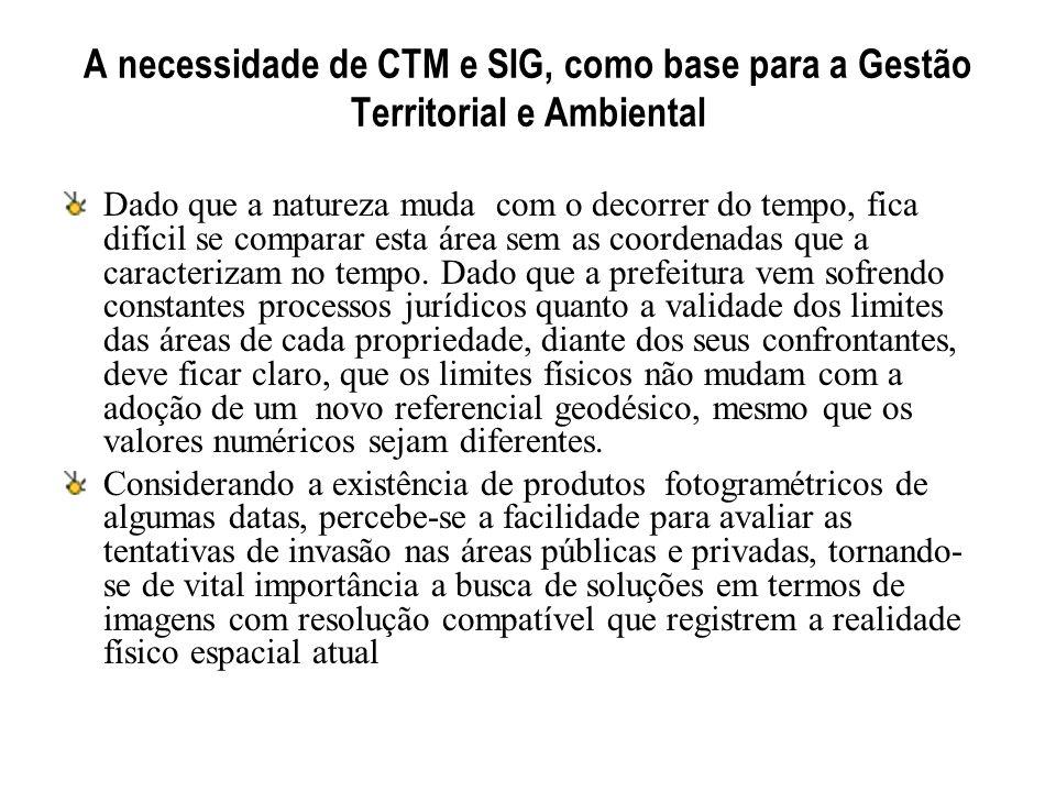 A necessidade de CTM e SIG, como base para a Gestão Territorial e Ambiental