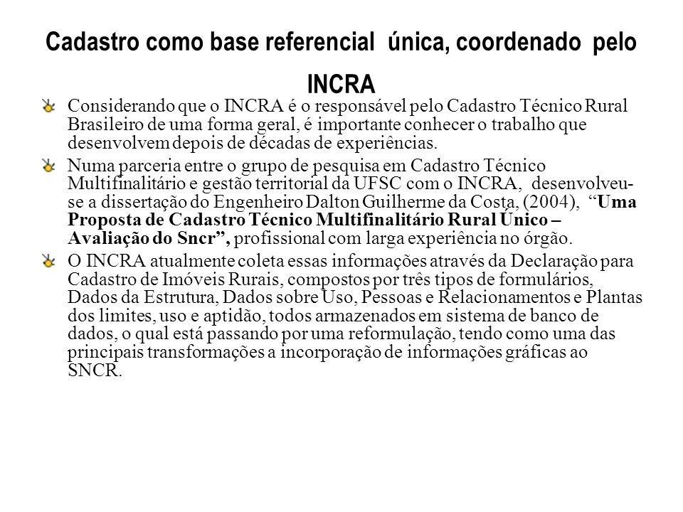 Cadastro como base referencial única, coordenado pelo INCRA