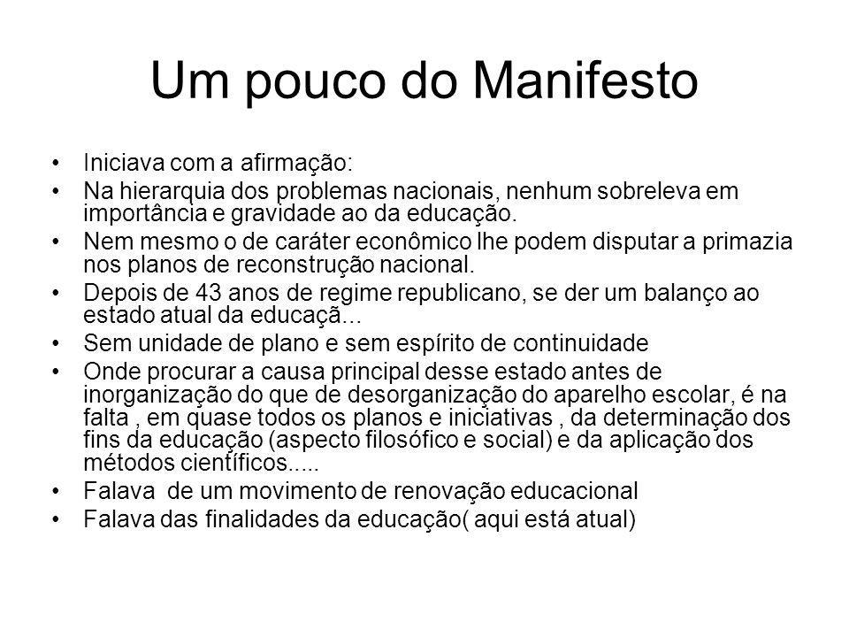 Um pouco do Manifesto Iniciava com a afirmação: