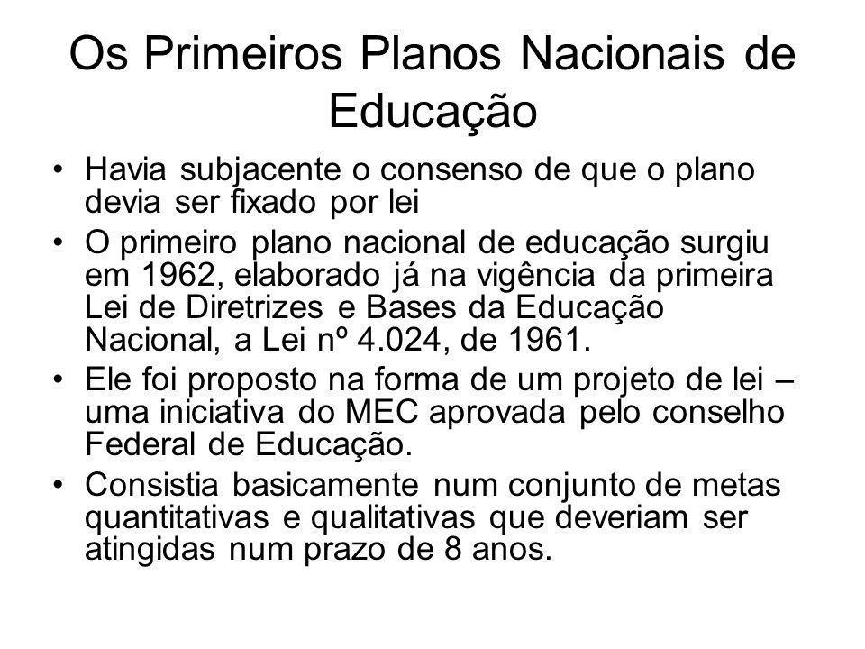 Os Primeiros Planos Nacionais de Educação