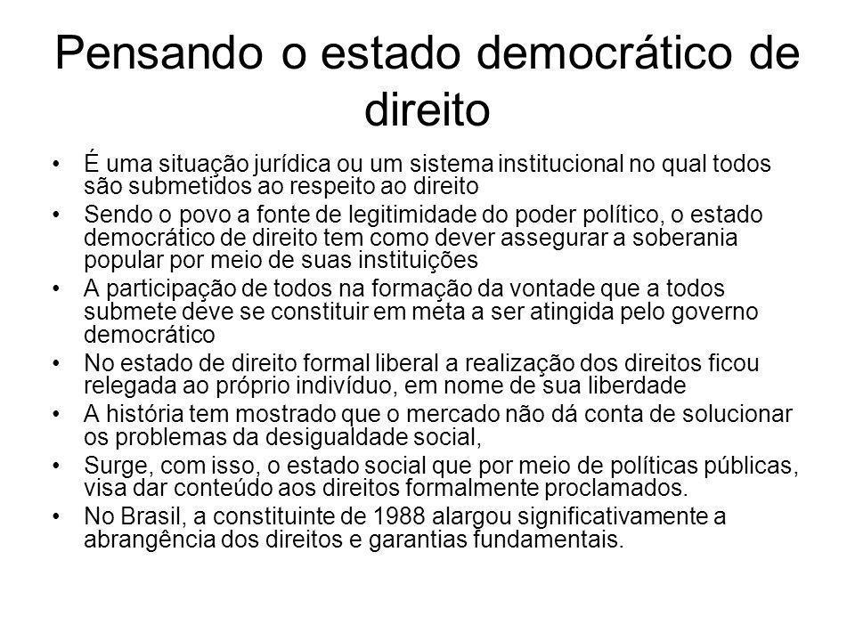 Pensando o estado democrático de direito