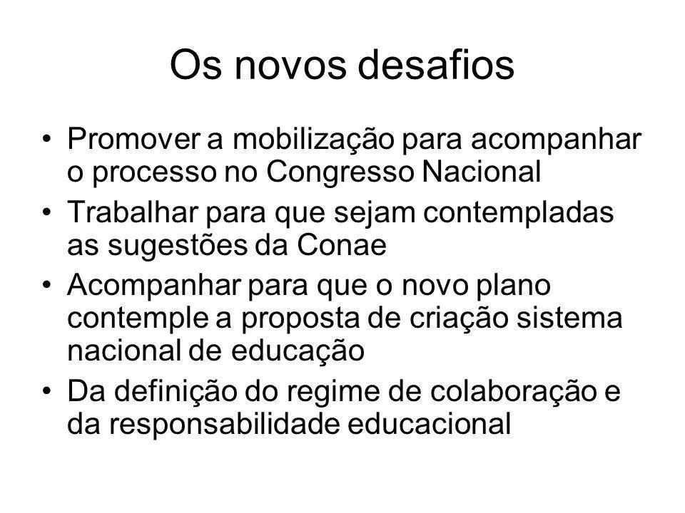 Os novos desafios Promover a mobilização para acompanhar o processo no Congresso Nacional.