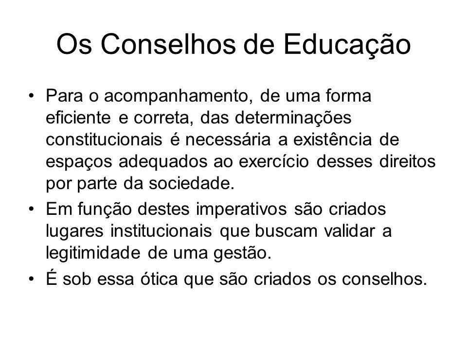 Os Conselhos de Educação