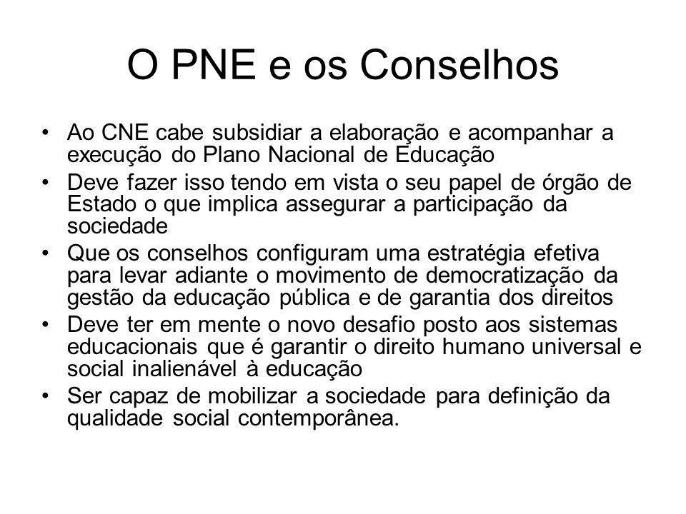 O PNE e os Conselhos Ao CNE cabe subsidiar a elaboração e acompanhar a execução do Plano Nacional de Educação.