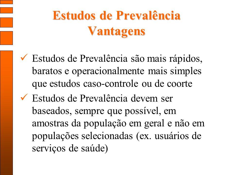 Estudos de Prevalência Vantagens