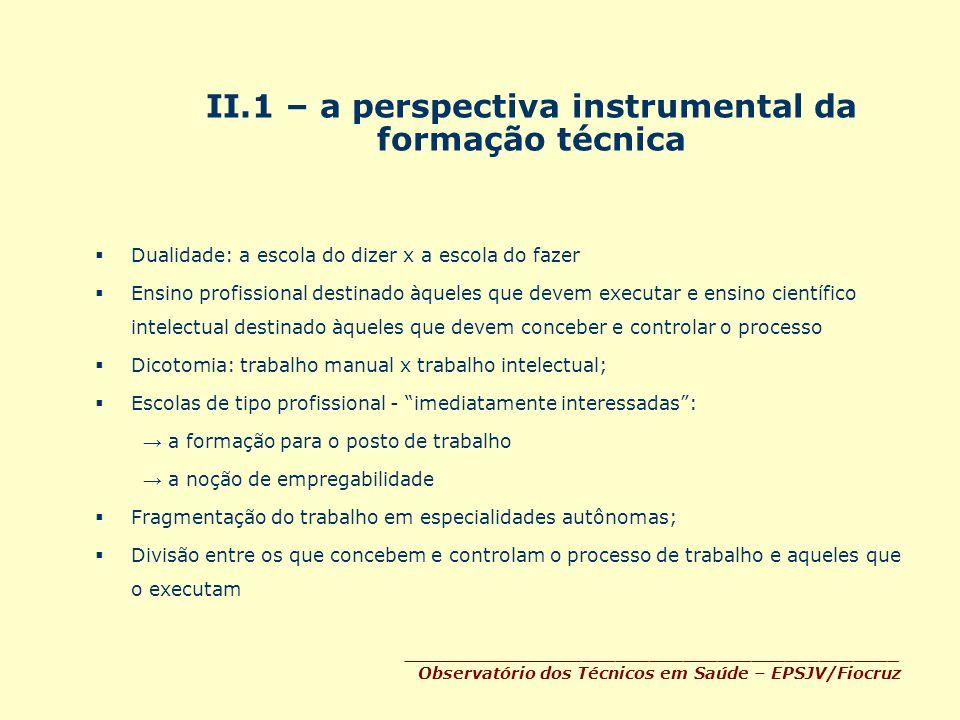 II.1 – a perspectiva instrumental da formação técnica