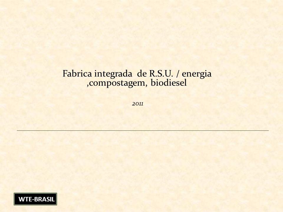 Fabrica integrada de R.S.U. / energia ,compostagem, biodiesel 2011