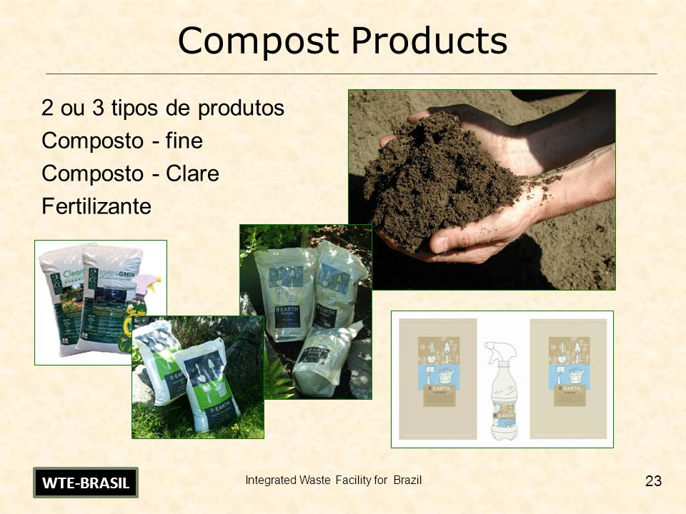 Compost Products 2 ou 3 tipos de produtos Composto - fine