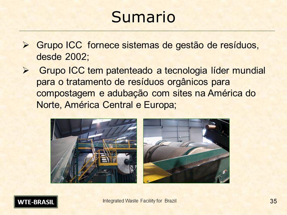 Sumario Grupo ICC fornece sistemas de gestão de resíduos, desde 2002;