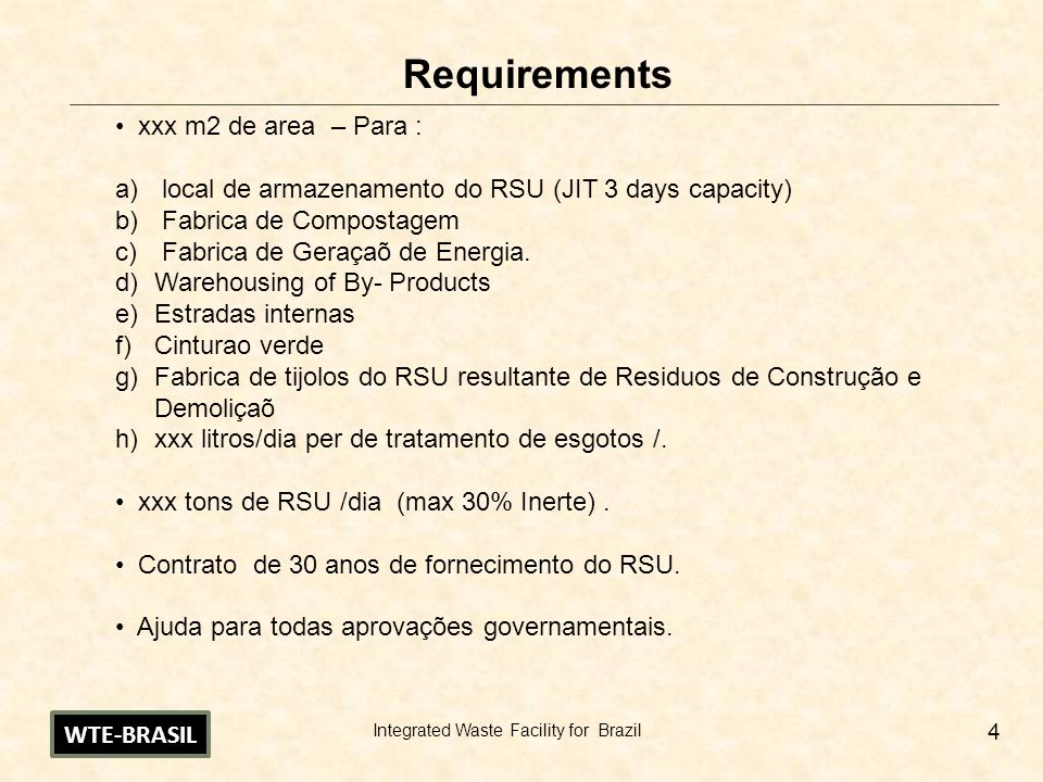 Requirements xxx m2 de area – Para :