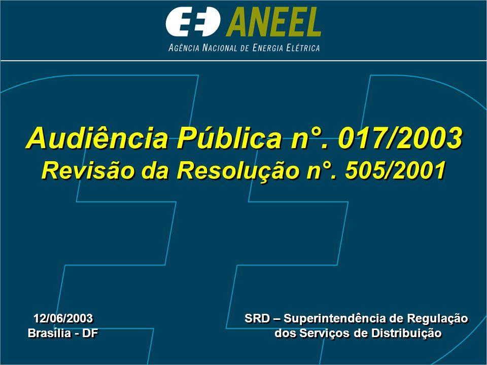 Audiência Pública n°. 017/2003 Revisão da Resolução n°. 505/2001