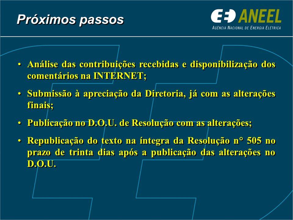 Próximos passos Análise das contribuições recebidas e disponibilização dos comentários na INTERNET;