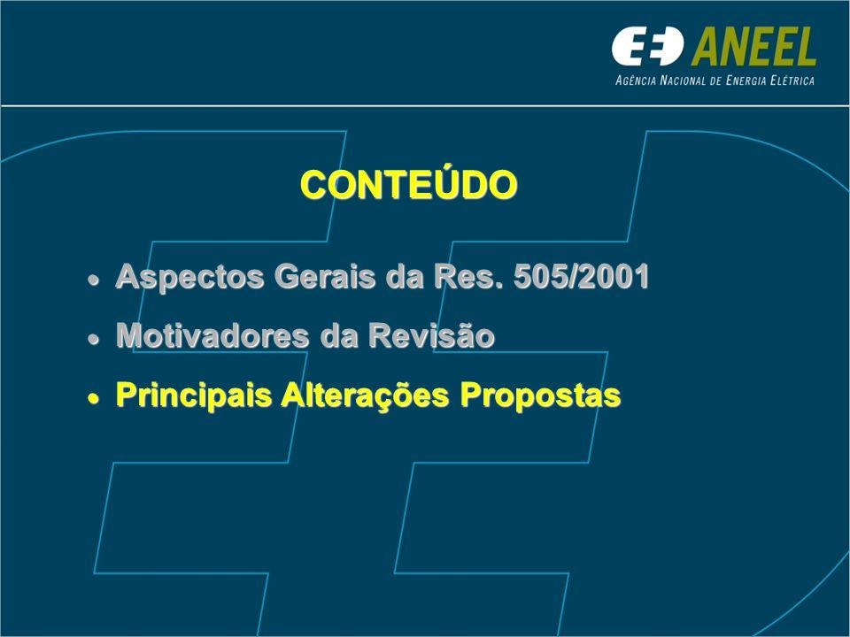 CONTEÚDO Aspectos Gerais da Res. 505/2001 Motivadores da Revisão Principais Alterações Propostas