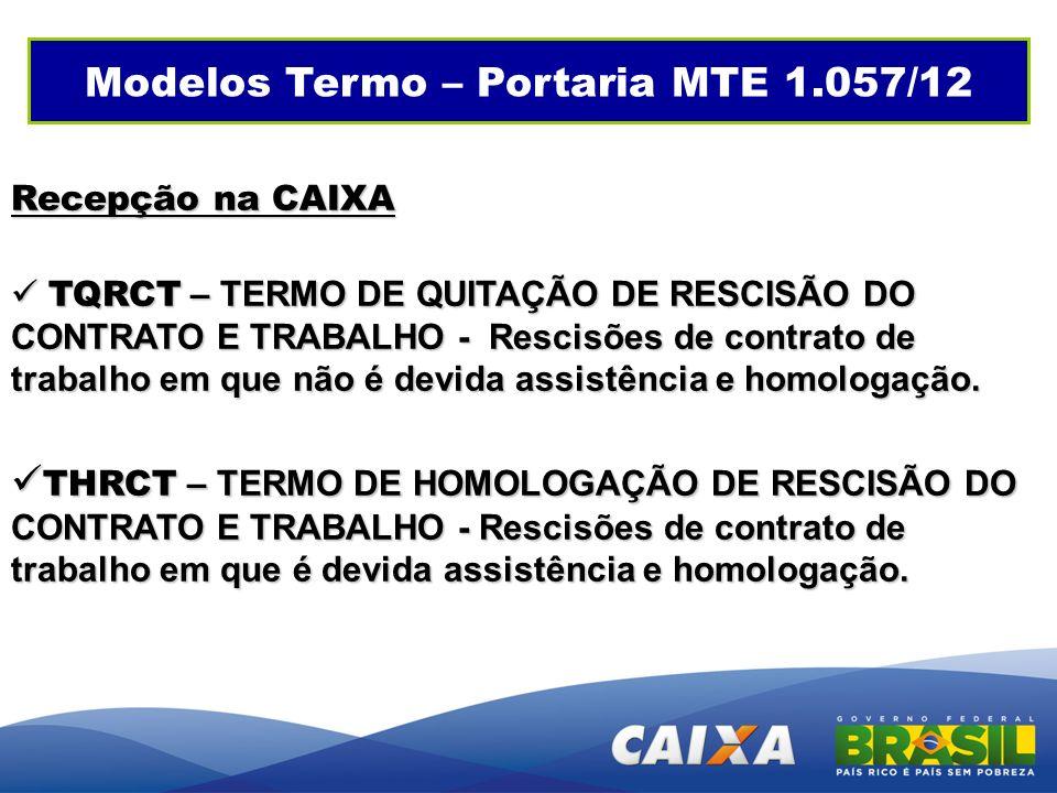 Modelos Termo – Portaria MTE 1.057/12