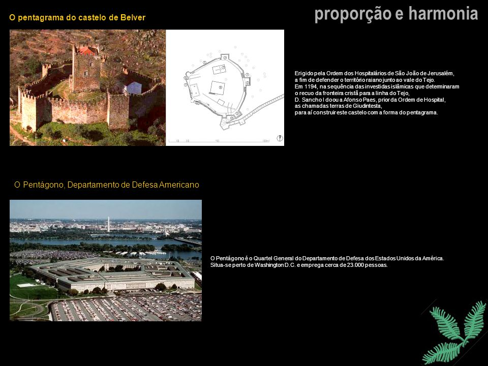 proporção e harmonia O pentagrama do castelo de Belver