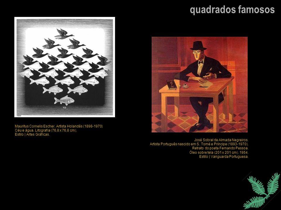 quadrados famosos Mauritus Cornelis Escher. Artista Holandês (1898-1970) Céu e água. Litografia (76,8 x 76,8 cm).