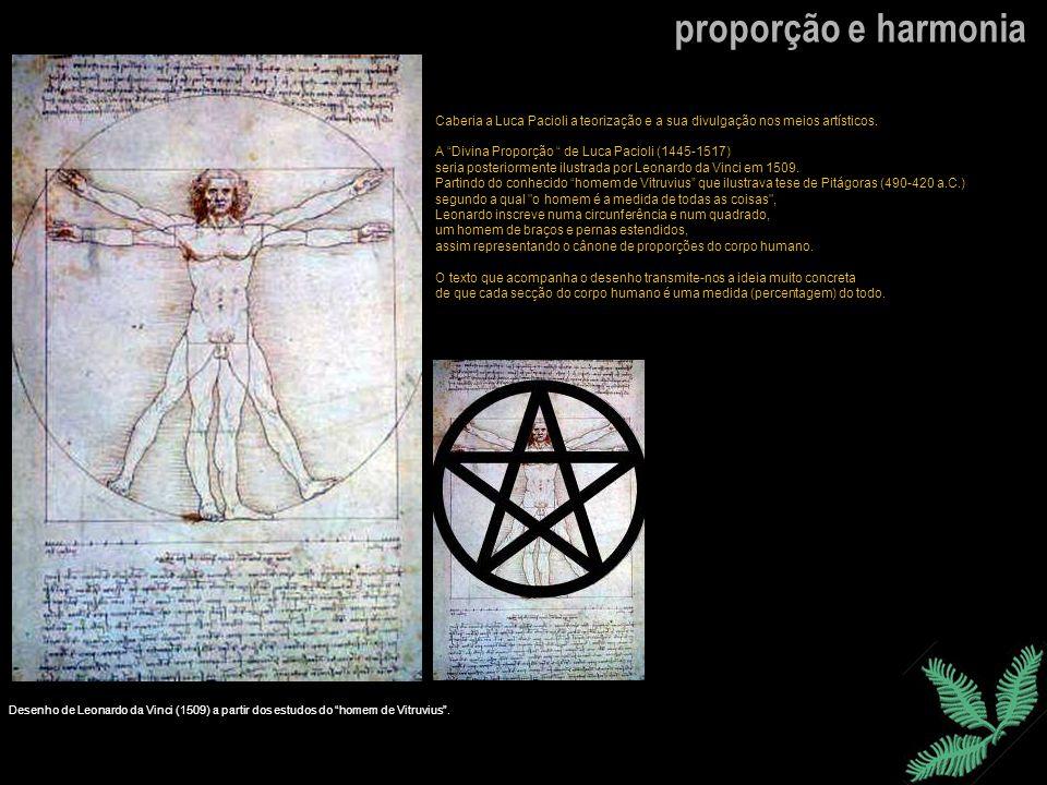 proporção e harmoniaCaberia a Luca Pacioli a teorização e a sua divulgação nos meios artísticos. A Divina Proporção de Luca Pacioli (1445-1517)