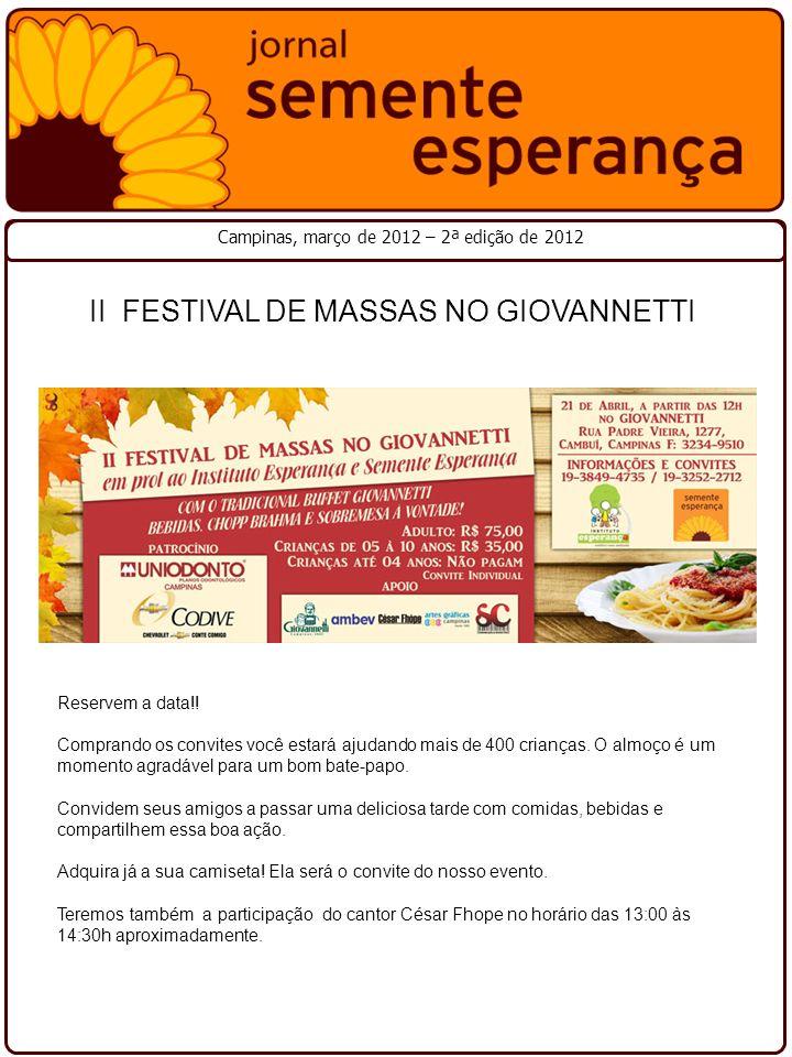 II FESTIVAL DE MASSAS NO GIOVANNETTI
