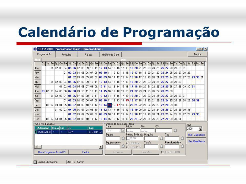 Calendário de Programação