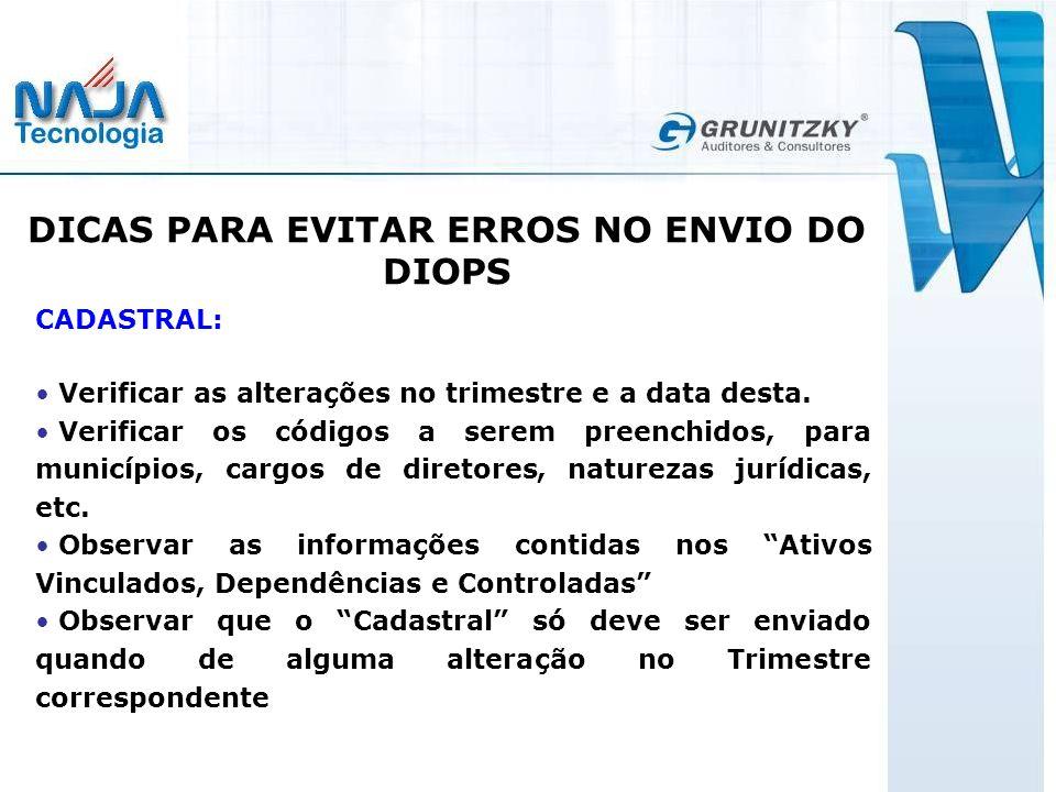 DICAS PARA EVITAR ERROS NO ENVIO DO DIOPS
