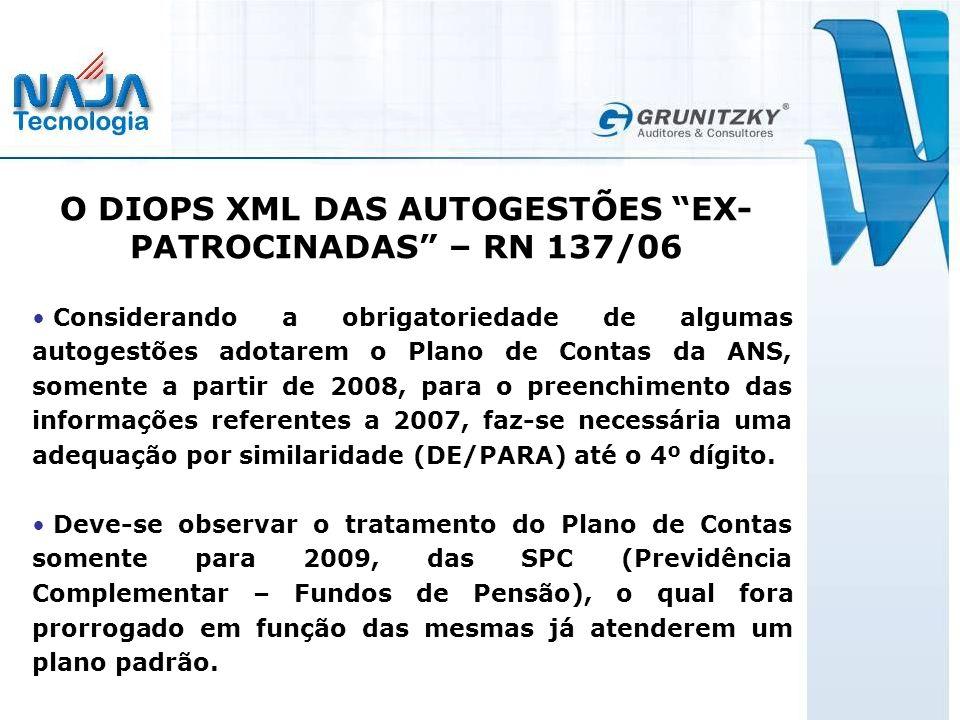 O DIOPS XML DAS AUTOGESTÕES EX-PATROCINADAS – RN 137/06