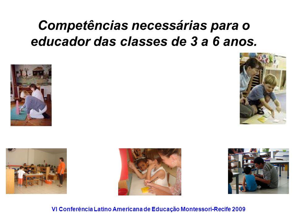 Competências necessárias para o educador das classes de 3 a 6 anos.