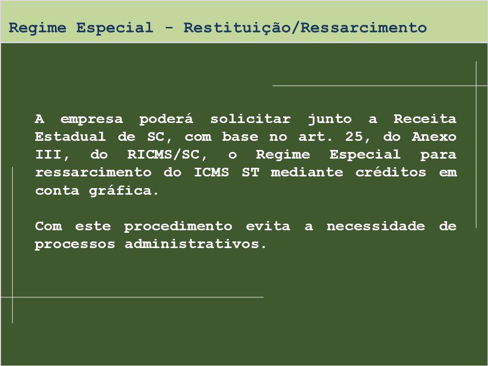 Regime Especial - Restituição/Ressarcimento