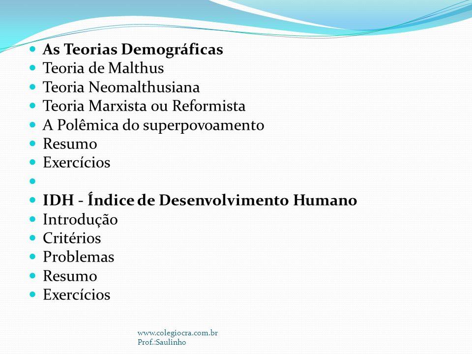 As Teorias Demográficas Teoria de Malthus Teoria Neomalthusiana