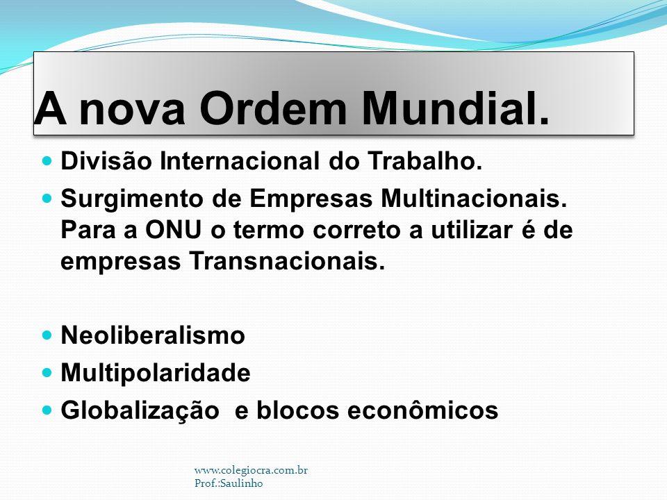 A nova Ordem Mundial. Divisão Internacional do Trabalho.