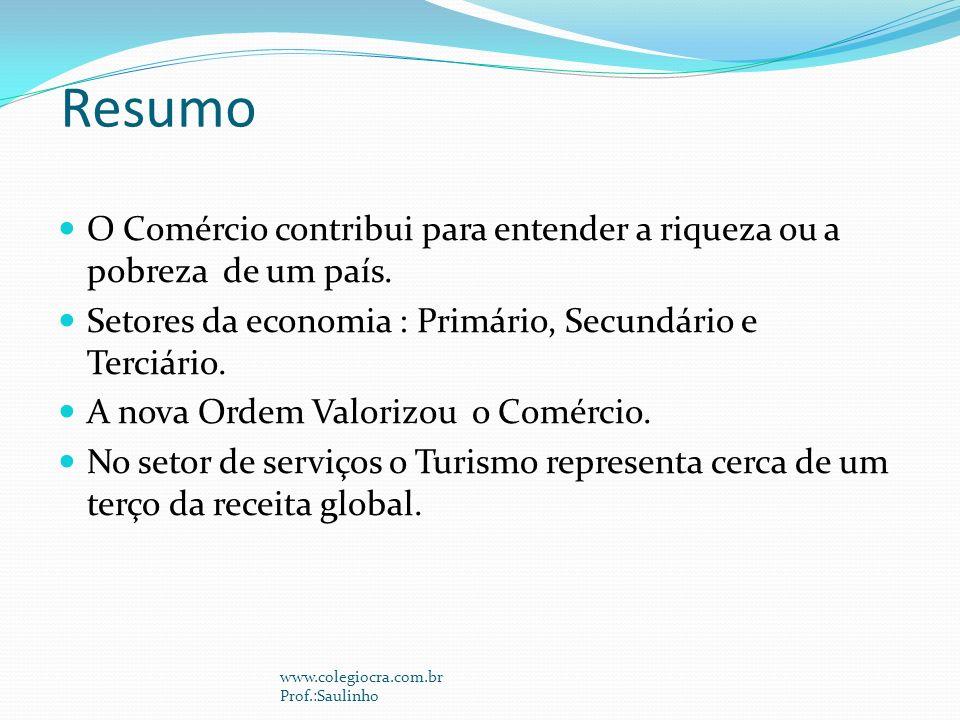 Resumo O Comércio contribui para entender a riqueza ou a pobreza de um país. Setores da economia : Primário, Secundário e Terciário.