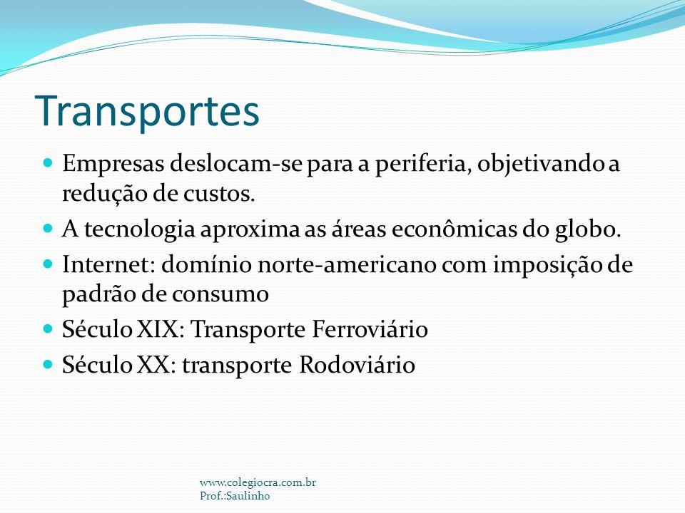 Transportes Empresas deslocam-se para a periferia, objetivando a redução de custos. A tecnologia aproxima as áreas econômicas do globo.