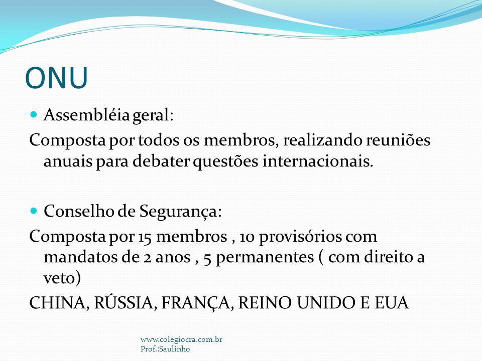 ONU Assembléia geral: Composta por todos os membros, realizando reuniões anuais para debater questões internacionais.