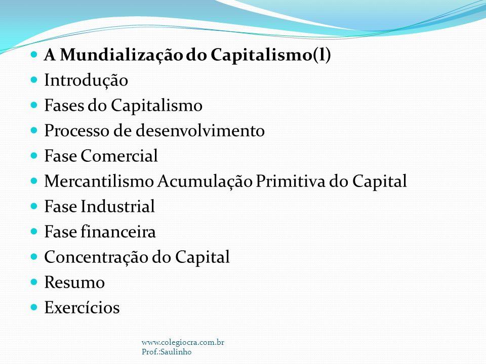 A Mundialização do Capitalismo(l) Introdução Fases do Capitalismo