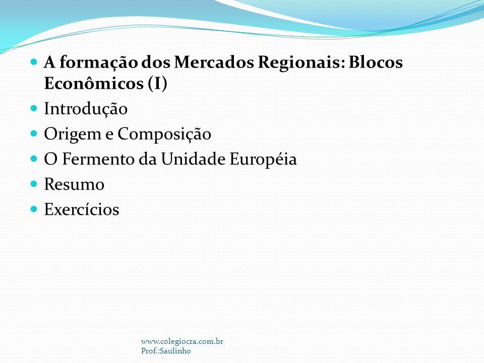 A formação dos Mercados Regionais: Blocos Econômicos (I) Introdução