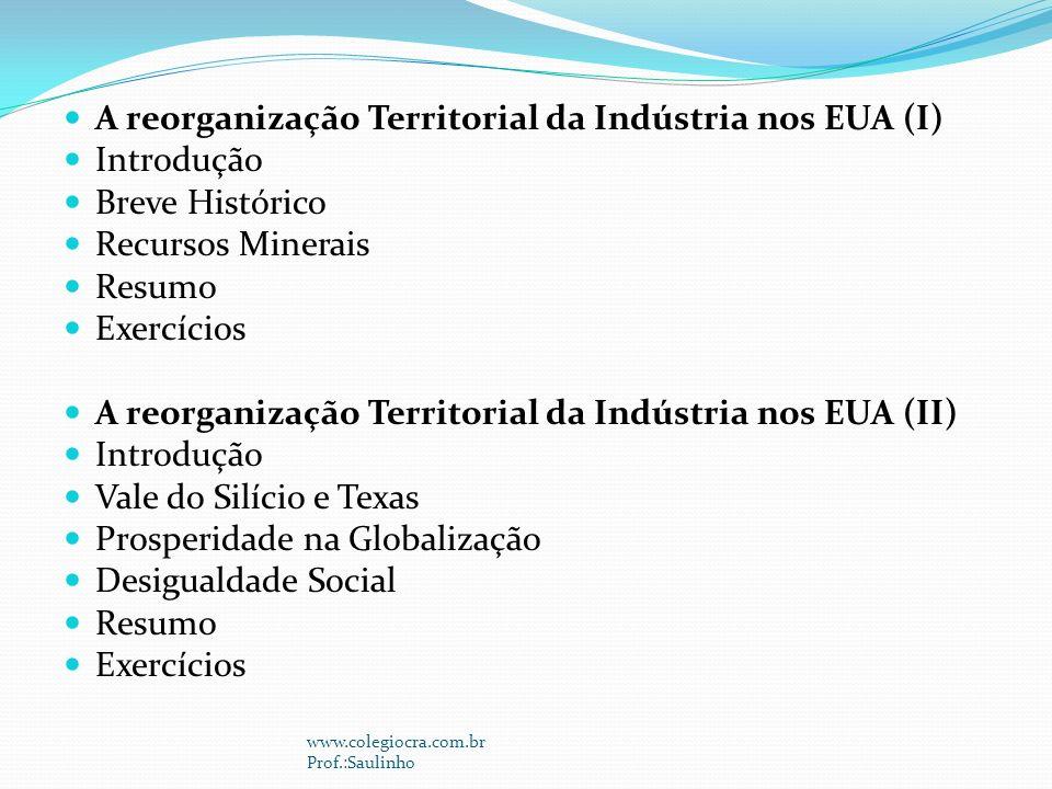 A reorganização Territorial da Indústria nos EUA (I) Introdução