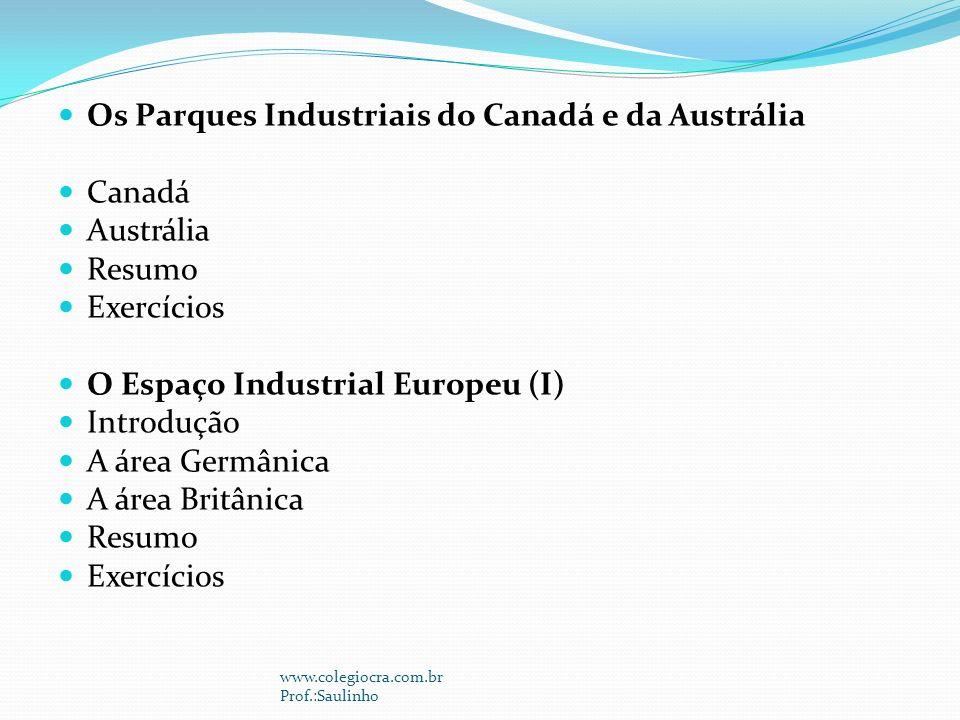 Os Parques Industriais do Canadá e da Austrália Canadá Austrália