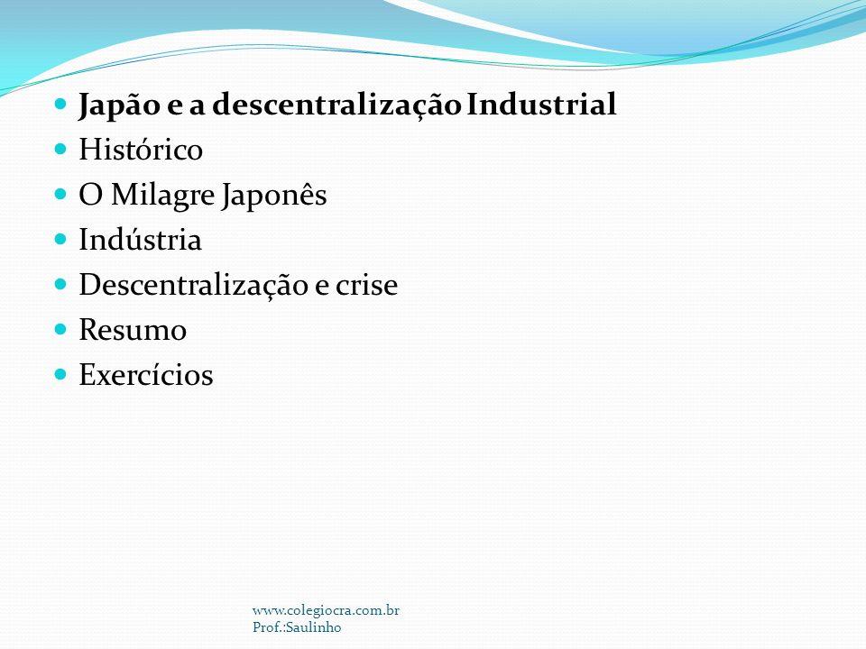 Japão e a descentralização Industrial Histórico O Milagre Japonês
