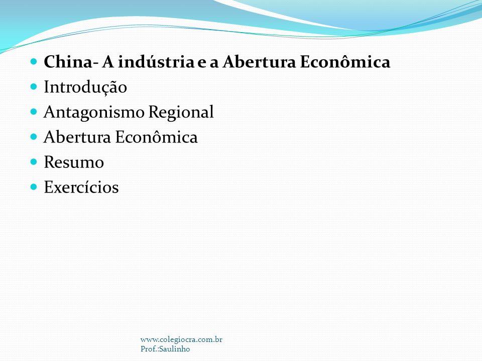 China- A indústria e a Abertura Econômica Introdução