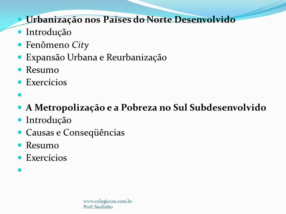 Urbanização nos Países do Norte Desenvolvido Introdução Fenômeno City
