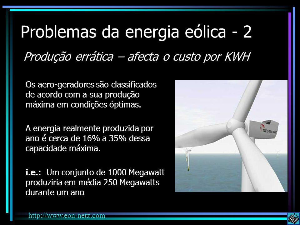 Problemas da energia eólica - 2