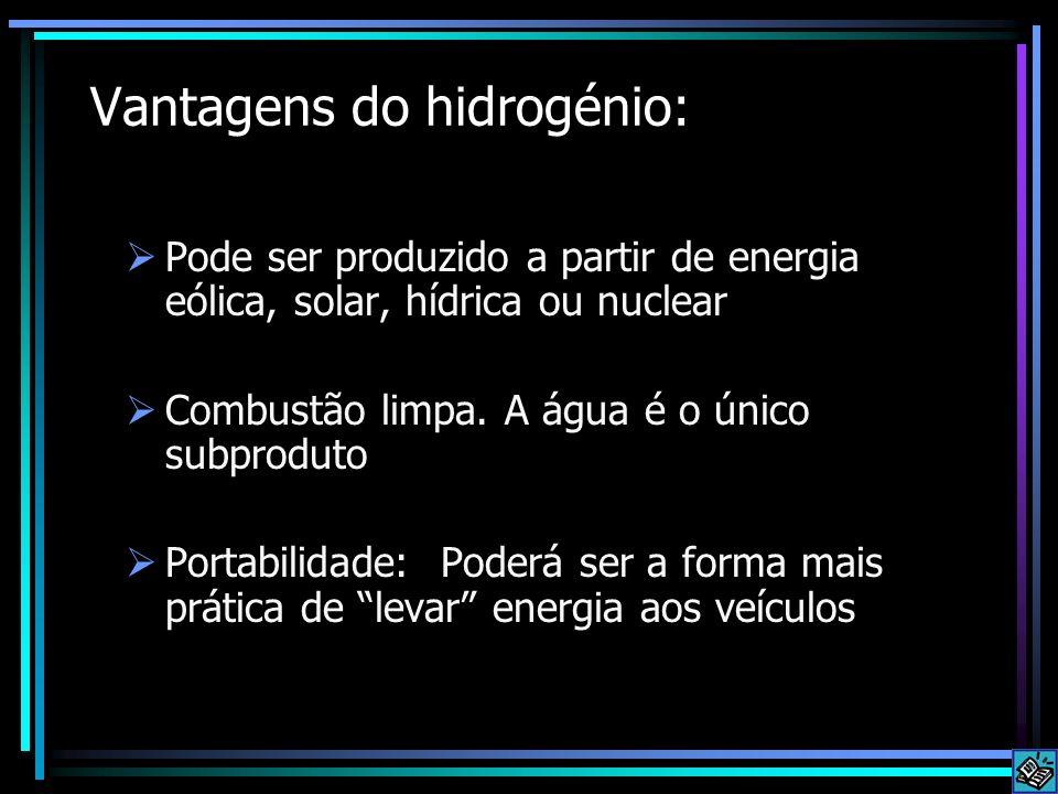 Vantagens do hidrogénio: