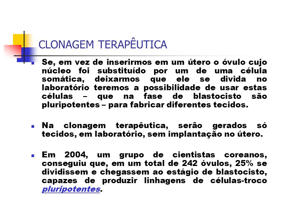 CLONAGEM TERAPÊUTICA