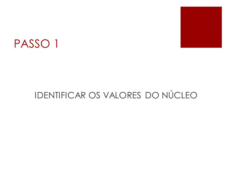 IDENTIFICAR OS VALORES DO NÚCLEO
