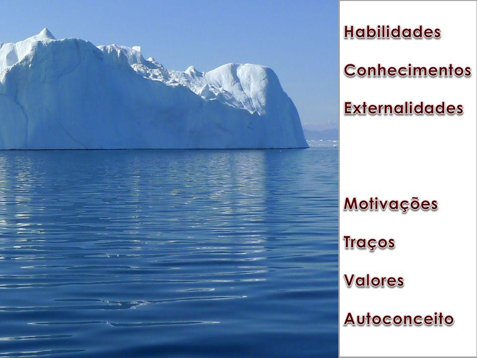Habilidades Conhecimentos. Externalidades. Motivações. Traços. Valores. Autoconceito. Junto dessas características, trazemos.