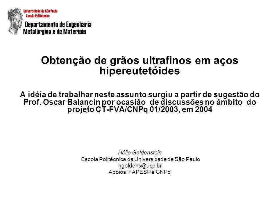 Obtenção de grãos ultrafinos em aços hipereutetóides