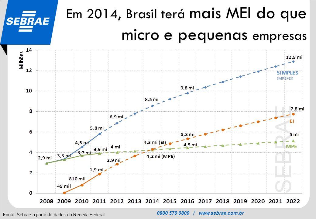 Em 2014, Brasil terá mais MEI do que micro e pequenas empresas