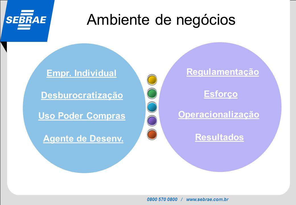 Ambiente de negócios Regulamentação Empr. Individual Esforço