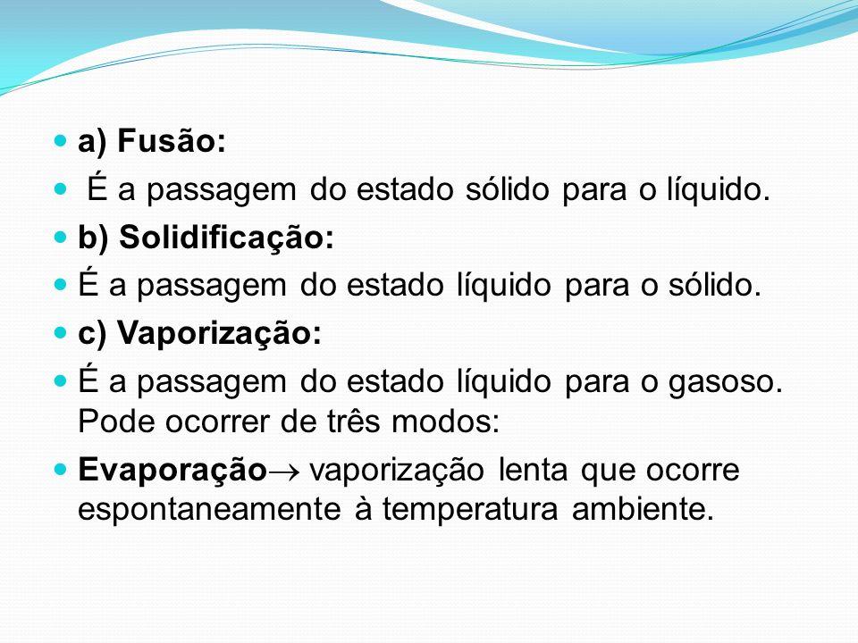a) Fusão: É a passagem do estado sólido para o líquido. b) Solidificação: É a passagem do estado líquido para o sólido.