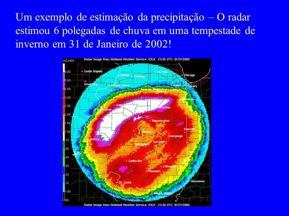 Um exemplo de estimação da precipitação – O radar estimou 6 polegadas de chuva em uma tempestade de inverno em 31 de Janeiro de 2002!