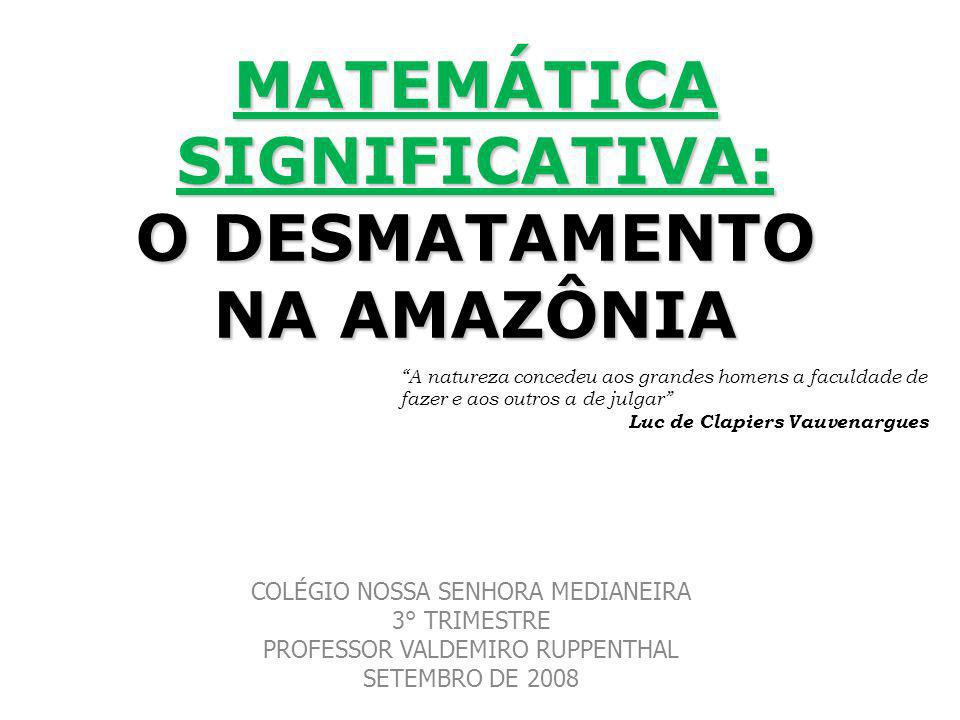 MATEMÁTICA SIGNIFICATIVA: O DESMATAMENTO NA AMAZÔNIA